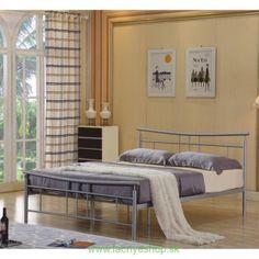Posteľ s roštom strieborný kov 160x200 DORADO Bench, Metal, Furniture, Home Decor, House, Decoration Home, Room Decor, Metals, Home Furnishings