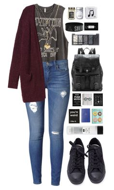 """""""Killing Time"""" by ellac9914 ❤ liked on Polyvore featuring H&M, Hudson Jeans, Monki, Converse, Proenza Schouler, Smythson, Koh Gen Do, Charlotte Russe, Primitives By Kathy and Happy Plugs"""