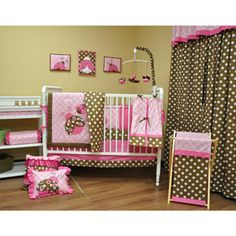 Bacati Lady Bugs 10-Piece Nursery-in-a-Bag Crib Bedding Set, Pink/Chocolate