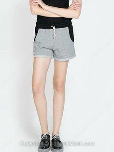 Grey Drawstring Waist Loose Shorts -$17.79