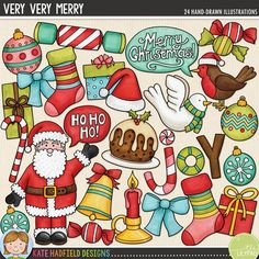 Christmas digital scrapbooking elements | Cute Santa clip art | Hand-drawn doodles for digital scrapbooking, crafting and teaching resources from Kate Hadfield Designs! Very Very Merry.
