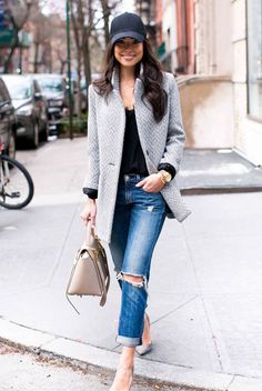 spring outfit, fall outfit, casual outfit, street style, street chic style, game day outfit, spring fashion, fall fashion - black baseball cap, black cami top, grey coat, boyfriend jeans, grey heels, nude handbag