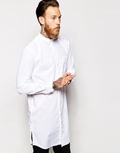 For when a basic white shirt isn't good enough! The longline shirt has become a modern classic and can be worn with skinny black jeans and brogues for a smart casual look.