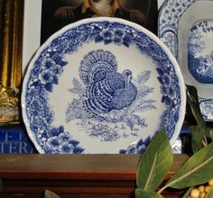 Blue and white turkey plate Blue And White China, Blue China, Love Blue, Thanksgiving Dinner Plates, Thanksgiving Wishes, Vintage Thanksgiving, Turkey Plates, Turkey Dishes, White Dishes