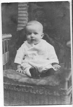 Photo Infant in Folder Loose From Vintage Clothing Cute Baby Genealogy #734