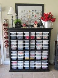 "What a neat idea - old dresser with the drawers taken out, filled with plastic bins, & turned into an organized ""station""... great for a craft room or playroom!"