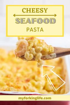 This dish takes a delicious mac and cheese recipe and brings it to the NEXT LEVEL. If you are a seafood fan this will be your new favorite! Three types of cheese are used to make a delicious, creamy pasta sauce that coats every piece. Then, shrimp and lobster meat are added to give it a sophisticated seafood flavor. Make this dish when you have a crowd to feed & impress! Seafood Mac And Cheese, Shrimp And Lobster, Seafood Pasta, Macaroni And Cheese, Lobster Meat, Delicious Mac And Cheese Recipe, Cheese Recipes, Seafood Recipes, New Recipes For Dinner