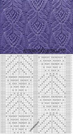 """diy_crafts-Japan feather lace """" Looks Japanese; they have these flowing curvy lines."""", """"Pretty lace knitting pattern Nr 719 a. Lace Knitting Patterns, Knitting Stiches, Knitting Charts, Lace Patterns, Knitting Designs, Free Knitting, Crochet Stitches, Stitch Patterns, Yarn Projects"""
