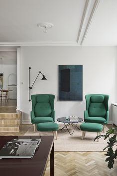 Living/cph / emerald green armchairs / herringbone flooring