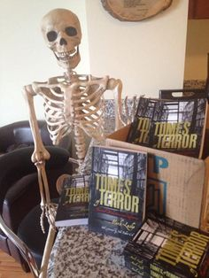 """""""Barnaby is almost as excited to see the box of my latest book arrive as I am. Latest Books, Book Signing, Halloween Horror, Skeleton, Bones, Goth, Create, Funny, Gothic"""