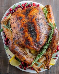 Lemon Zest and Herb Roasted Turkey Roast Turkey Recipes, Chicken Recipes, Beef Recipes, Herb Roasted Turkey, Whole Turkey, Lemon Herb, Aromatic Herbs, Good Food, Yummy Food