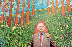 David Hockney in front of 'The Arrival of Spring in Woldgate, East Yorkshire in 2011'