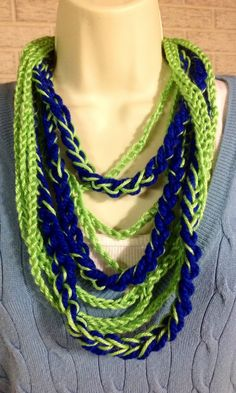 Green blue lime royal blue chain crochet necklace by TraylorCrafts