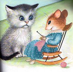 The Knitting Mouse ~ Garth Williams Illustration Garth Williams, Image Chat, Knitting Humor, Cat Mouse, Vintage Children's Books, Children's Book Illustration, Cat Art, Lana, Illustrators