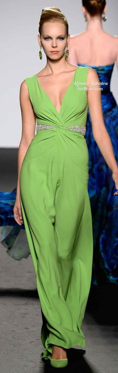 Renato Balestra HC SS 2014 | pistachio green | sheath | silk/chiffon evening gown with beadings on waist