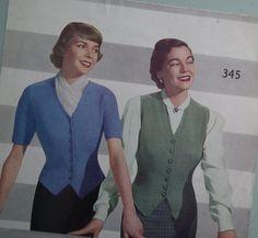 Vintage Knitting Pattern 1940s 1950s Womens Waistcoat Fitted Cardigan 40s 50s original knitting pattern