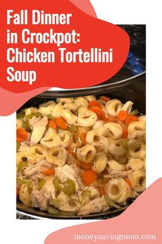 Looking for easy soup recipes or a great Chicken Noodle Soup recipe? Here is a slow cooker chicken soup recipe that uses tortellini instead of noodles! #souprecipes #easysouprecipes #chickensoup #chickennoodlesoup Vegetable Soup Recipes, Chicken Soup Recipes, Easy Soup Recipes, Fall Recipes, Dinner Recipes, Healthy Recipes, Chicken Tortellini Soup, Tortellini Recipes, Slow Cooker Soup