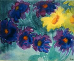 Yellow and Violet Zinnias, 1913 (w/c on paper) by Emil Nolde.