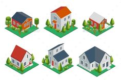 Isometric 3d Private House, Rural Buildings