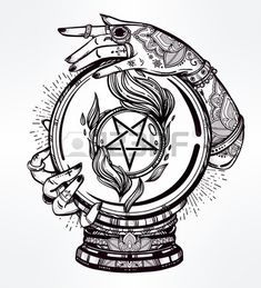 Hand drawn romantic flesh art of a Crystal Ball in psychics hands with occult reversed pentagram. Vector illustration isolated. Tattoo design, mystic magic symbol for your use.