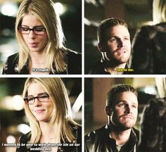 """""""I wanted to be able to walk down the aisle on our wedding day"""" - Felicity and Oliver #Arrow"""