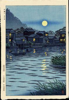 Moon at River Katase - Shiro Kasamatsu