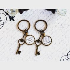 """Jane Austen Estate keychains, """"Netherfield Park is let at last"""" and """"The garden in which stands my humble abode is separated only by a lane from Rosings Park"""". You all know I adore some awkward Mr. Collins quotes 😝 link to my etsy shop in bio.- the Scottishrebel on Instagram Mansfield Park, Pride And Prejudice, Humble Abode, Jane Austen, Keychains, Awkward, Etsy Shop, Let It Be, Link"""