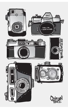 A vintage camera collection set illustrated - Tattoos Camera Drawing, Camera Art, Toy Camera, Camera Illustration, Photography Illustration, Photography Camera, Art Photography, Pregnancy Photography, Underwater Photography