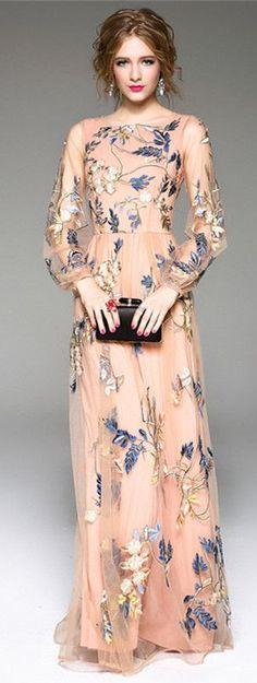 Long Sleeve Wedding Dress Apricot Embroidered Maxi Dress