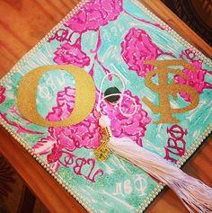 Pi Phi Lilly Pulitzer print graduation cap #piphi #pibetaphi