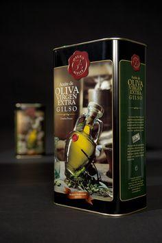 Diseño e imagen de las latas de aceite para la firma Gilso aceites