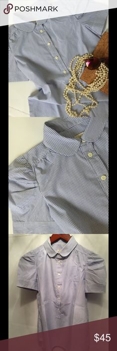 JCREW🌸PINSTRIPE SHIRT JCrew pinstripe shirt with a Peter Pan collar and buttoned short sleeves. It is a popover design  which buttons half way. Gently loved in great condition. Worn once. 100% cotton. J. Crew Tops Button Down Shirts