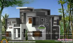 Contemporary style flat roof house plan. #houseplan #Kerala #keralahomedesign