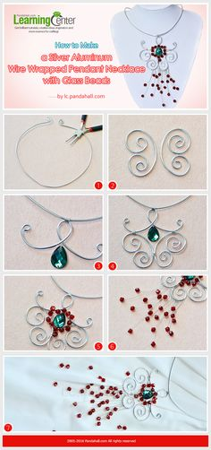 Tutorial on How to Make a Silver Aluminum Wire Wrapped Pendant Necklace with Glass Beads from LC.Pandahall.com   #pandahall