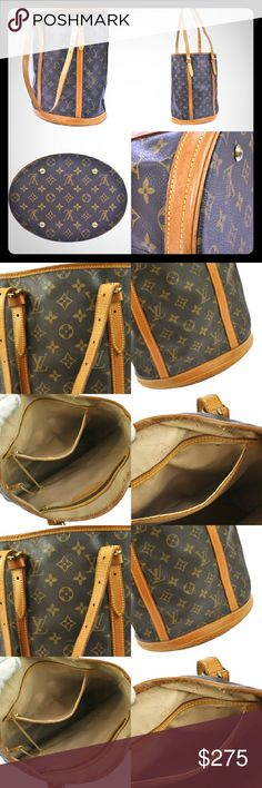 Authentic Louis Vuitton Bucket Bag GM In great used condition! The inside is peeling, in need of removal! No trades. Louis Vuitton Bags Shoulder Bags