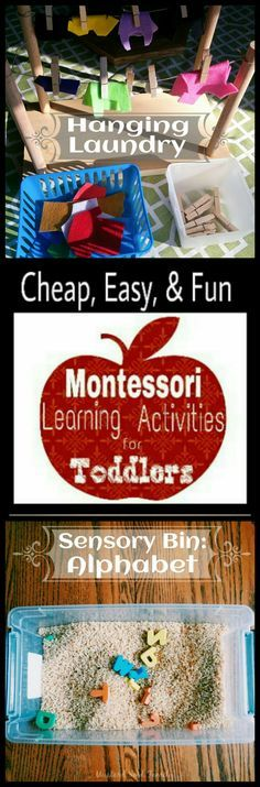 Montessori Learning Activities for Toddlers: Hanging Laundry and Alphabet Sensory Bin