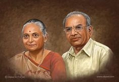 Delightful portrait painting of parents on canvas. Express your loves towards your parents by presenting excellent digital painting to them. Oil Painting On Canvas, Painting Art, Family Portrait Painting, Couple Portraits, Couple Photos, Lata Mangeshkar, Old Couples, Digital Portrait, Wall Art Designs
