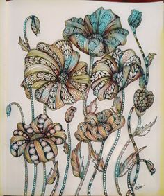 Zen Poppy flowers #BinaZen #poppies #zentangle