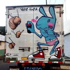 Karen Kueia & Andy Houp in São Paulo, Brazil, 2017, street art mobile