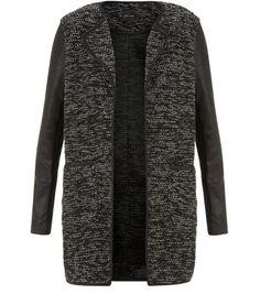 Black Fine Knit Contrast Leather-Look Sleeve Jacket