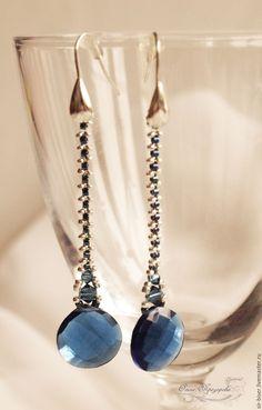 """Купить Серьги """"Mont Blanc"""" - тёмно-синий, длинные серьги, Элегантные серьги, вечерние серьги"""