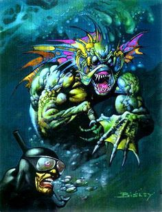 SIMON BISLEY (English, b. Sea Monster Threatens Diver Oil on board x in. (sight) Signed lower - Available at 2015 May 14 Illustration Art. Simon Bisley, Sci Fi Horror, Horror Comics, Horror Art, Comic Book Covers, Comic Books Art, Pictures To Paint, Art Pictures, Underwater Creatures