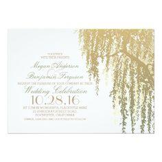 Gold Shades Willow Tree Elegant Wedding Card