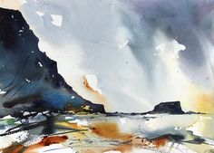 Saltwick Bay Expressive Watercolour Seascape by Adrian Homersham. Watercolor Images, Watercolor Artists, Abstract Watercolor, Watercolor Paintings, Watercolor Techniques, Watercolours, Abstract Landscape Painting, Seascape Paintings, Watercolor Landscape