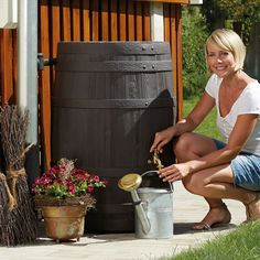 This rain barrel kit looks like a beautiful wine barrel and will enhance your backyard décor while capturing water for your plants.
