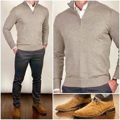 I'm trying out a new color combo today with this tan/camel sweater, charcoal gray pants, and cognac suede chukkas❗️👍🏼👍🏼🔥🔥 What do you guys think❓ Do you like this combo❓ Boots: Cognac Suede Scout Sweater, pants, and shirt: Grey Pants Outfit, Gray Pants, Men's Pants, Business Casual Men, Men Casual, Smart Casual, Gq Mens Style, Moda Formal, Formal Men Outfit