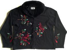 Tiara International Christmas Cardigan Sweater Top Detachable Collar Womens Sz M #TiaraInternational #Cardigan