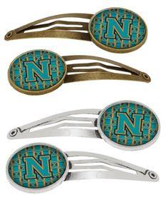 Letter N Football Aqua, Orange and Marine Blue Set of 4 Barrettes Hair Clips CJ1063-NHCS4