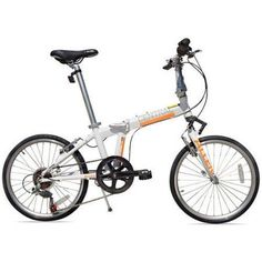 Allen Sports Central 7-Speed Folding Bicycle with Suspension, White
