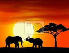 Cuadro áfrica paisaje de fondo con el elefante • Posters y Cuadros ...